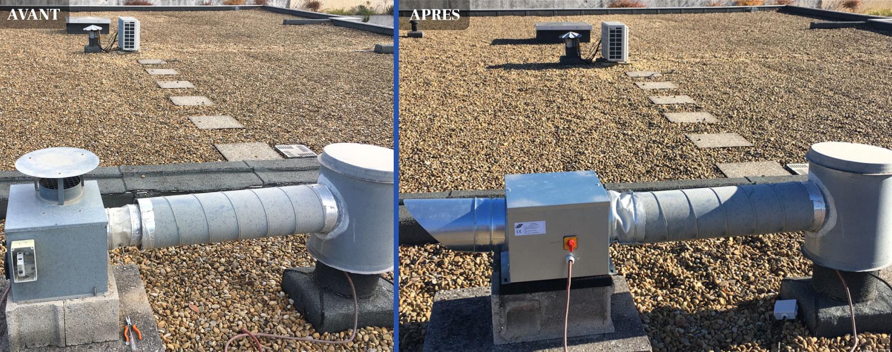 Mise en place d'une caisson de VMC avant et après